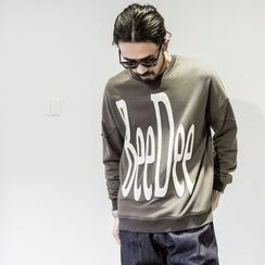 YIDESIMPLE - Drop-Shoulder Lettering Pullover