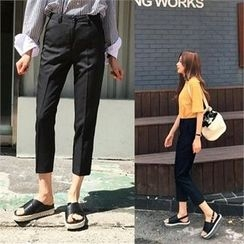 QNIGIRLS - Flat-Front Tapered Pants