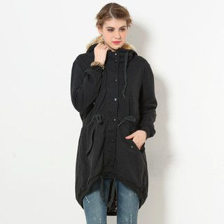 59 Seconds - Faux Fur-Trim Hooded Dip-Back Jacket