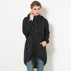 59 Seconds - Faux Fur-Trim Hooded Dip-Back Jacket