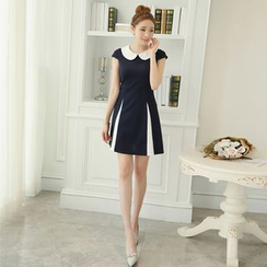 Bornite - Two-Tone Peter Pan Collar A-Line Dress