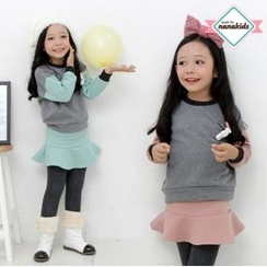 nanakids - Girls Set: Rabbit Brooch Brushed-Fleece Lined Sweatshirt + Inset Skirt Leggings