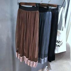 YENSI - 網紗扣領絲絨中長裙