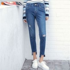 Duterena - Washed Distressed Slim-Fit Cropped Jeans