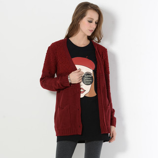 YesStyle Z - Nubby Knit Panel Cardigan