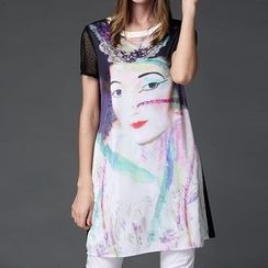 Mythmax - Short-Sleeve Printed Dress