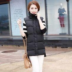 NINETTE - Plain Stand-Collar Padded Zip Vest
