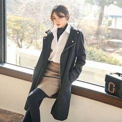 Seoul Fashion - Collared Diagonal-Zip Wool Blend Coat