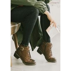 GOROKE - Belted Stitched Short Military Boots