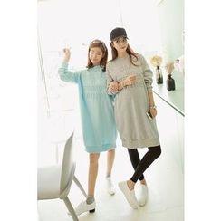 Momnuri - Maternity Lettering-Embossed Pullover Dress
