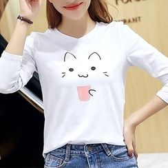 Q.C.T - Cat Print Long-Sleeve T-shirt