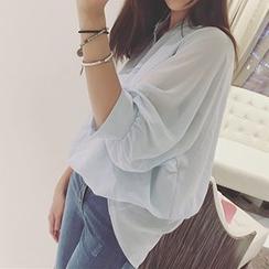 Rocho - 純色V領雪紡襯衫