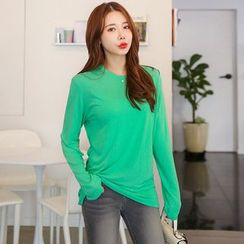 Seoul Fashion - Colored Round-Neck T-Shirt