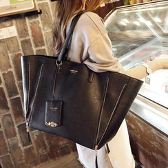 Youshine - Faux-Leather Tote + Zip Clutch
