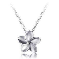 Bling Bling - Bling Bling Platinum Plated 925 Silver 'Forget Me Not' Flower Necklace (16')
