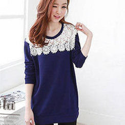 JVL - Lace-Front Long Sweater