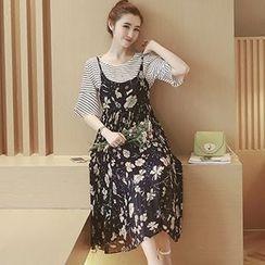 Ashlee - Set: Elbow-Sleeve Striped T-Shirt + Strappy Floral Midi Dress