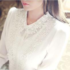 KOKA - Crochet Collar Chiffon Shirt