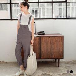 OrangeBear - 素色口袋设计侧排扣造型吊带棉感长裤