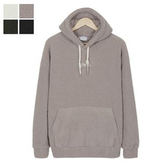 DANGOON - Hooded Lettering Sherpa-Fleece Pullover