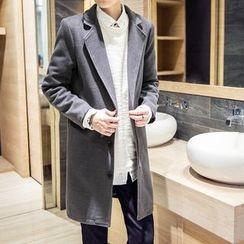 ZONZO - Notch Lapel Long Woolen Coat