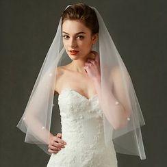 Neostar - 花形刺繡新娘頭紗
