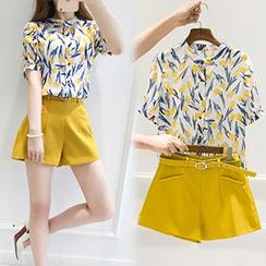 Ashlee - Set: Floral Print Short Sleeve Shirt + Belted Shorts