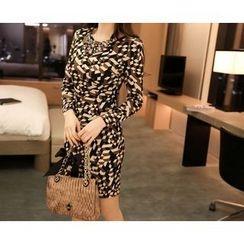Marlangrouge - Long-Sleeve Pattern Sheath Dress