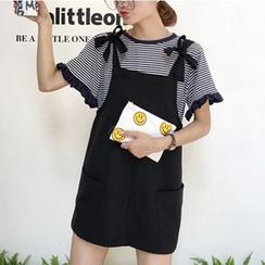 MATO - Set: Short-Sleeve Striped Top + Jumper Skirt