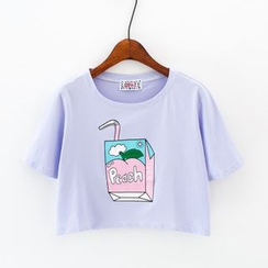 Sunny Day - Juice Box Print Cropped Short Sleeve T-Shirt
