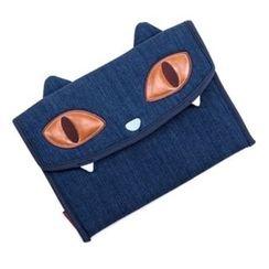 Plume Moon - Cat-Applique Denim Tablet Sleeve (iPad Air)