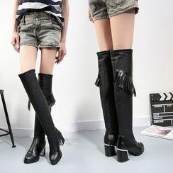 Sleeko - Fringed Chunky-Heel Tall Boots