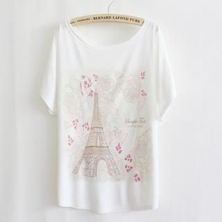 LULUS - Tower-Print Loose-Fit T-Shirt