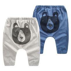 lalalove - Kids Bear Print Harem Pants