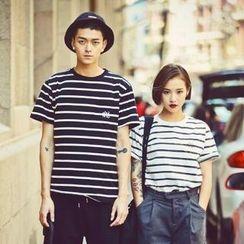 RomX - Short-Sleeve Striped Couple T-Shirt
