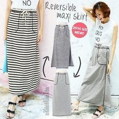 Luz Llena - Reversible Drawstring Maxi Skirt