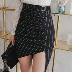 Babi n Pumkin - High-Waist Asymmetric-Hem Pinstriped Skirt