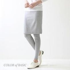 COLOR of BASIC - Inset Midi Skirt Leggings