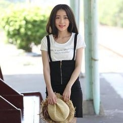 Mini Jule - Set: Lettering T-Shirt + Zipped Suspenders Skirt