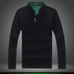Alvicio - Long-Sleeve Mandarin Collar Polo Shirt