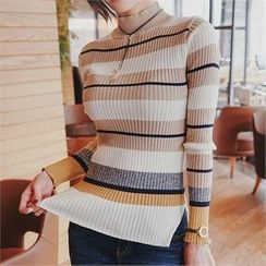Babi n Pumkin - Mock-Neck Color-Block Knit Top