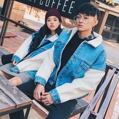 FULLHOPE - Couple Matching Denim Panel Jacket