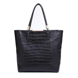MBaoBao - Genuine-Leather Croc-Grain Tote