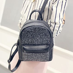 Merlain - Sequined Faux Leather Backpack