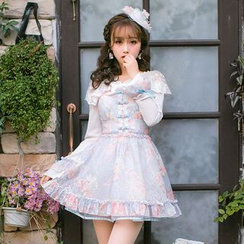 Candy Rain - Long-Sleeve Ruffle Trim Floral A-line Dress