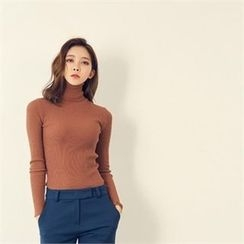 MAGJAY - Turtle-Neck Ribbed Top