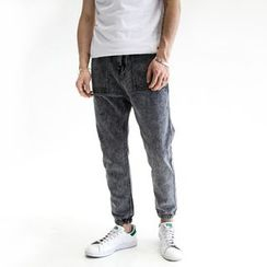 YIDESIMPLE - Acid-Washed Slim-Fit Jeans