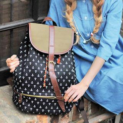 SUPER LOVER - Drawstring Anchor-Print Flap Backpack