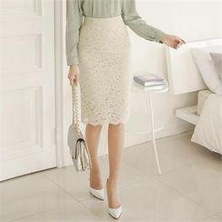 ode' - High-Waist Laced Pencil Skirt