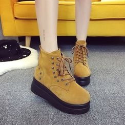 One100 - Platform Studded Lace-Up Ankle Boots